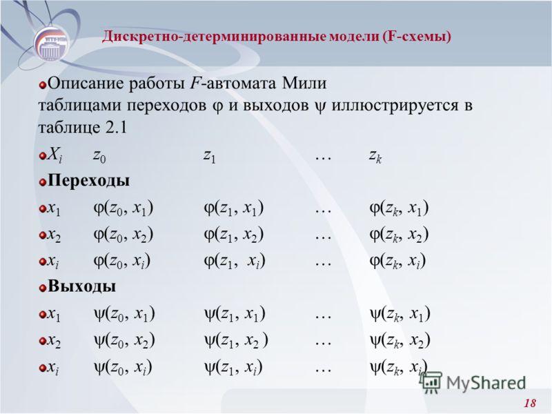 18 Описание работы F-автомата Мили таблицами переходов и выходов иллюстрируется в таблице 2.1 X i z 0 z 1 …z k Переходы x 1 (z 0, x 1 ) (z 1, x 1 )… (z k, x 1 ) x 2 (z 0, x 2 ) (z 1, x 2 )… (z k, x 2 ) x i (z 0, x i ) (z 1, x i )… (z k, x i ) Выходы