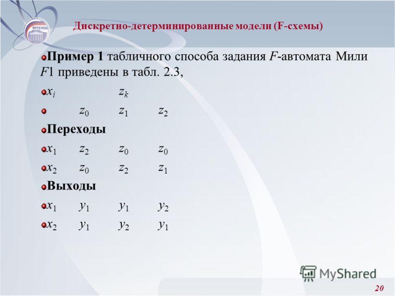 20 Пример 1 табличного способа задания F-автомата Мили F1 приведены в табл. 2.3, x i z k z 0 z 1 z 2 Переходы x 1 z 2 z 0 z 0 x 2 z 0 z 2 z 1 Выходы x 1 y 1 y 1 y 2 x 2 y 1 y 2 y 1 Дискретно-детерминированные модели (F-схемы)