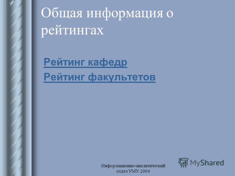 Информационно-аналитический отдел УМУ 2004 Общая информация о рейтингах Рейтинг кафедр Рейтинг факультетов