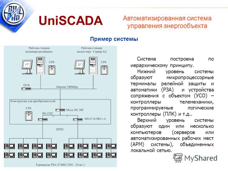 Пример системы Система построена по иерархическому принципу. Нижний уровень системы образуют микропроцессорные терминалы релейной защиты и автоматики (РЗА) и устройства сопряжения с объектом (УСО) – контроллеры телемеханики, программируемые логически