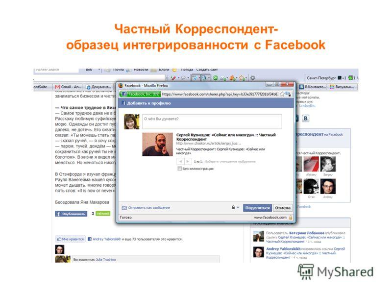 Частный Корреспондент- образец интегрированности с Facebook