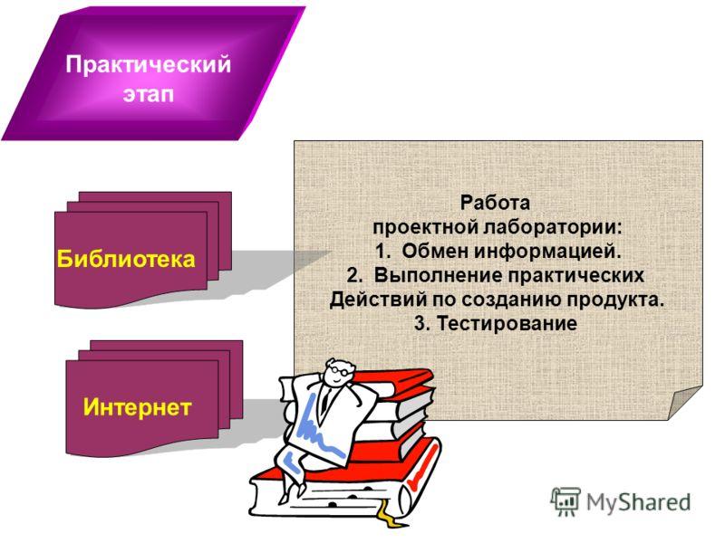 Практический этап Работа проектной лаборатории: 1.Обмен информацией. 2.Выполнение практических Действий по созданию продукта. 3. Тестирование Библиотека Интернет