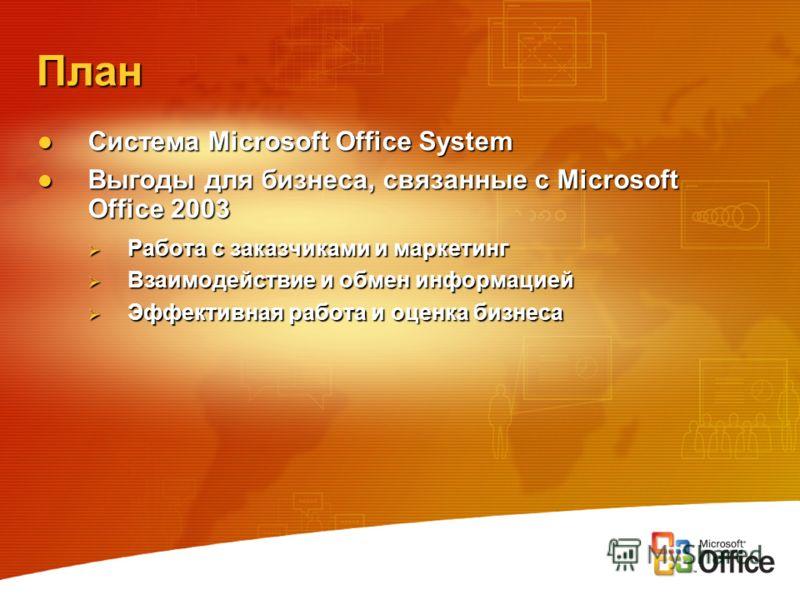 План Система Microsoft Office System Система Microsoft Office System Выгоды для бизнеса, связанные с Microsoft Office 2003 Выгоды для бизнеса, связанные с Microsoft Office 2003 Работа с заказчиками и маркетинг Работа с заказчиками и маркетинг Взаимод