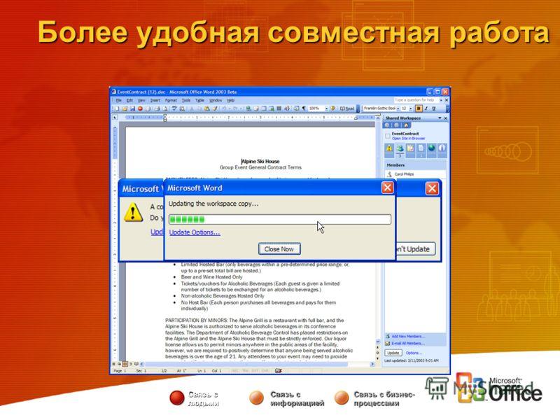 Связь с людьми Связь с информацией Связь с бизнес- процессами Более удобная совместная работа