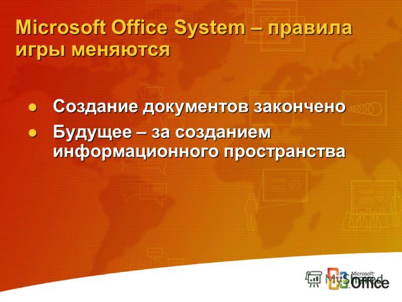 Microsoft Office System – правила игры меняются Создание документов закончено Создание документов закончено Будущее – за созданием информационного пространства Будущее – за созданием информационного пространства