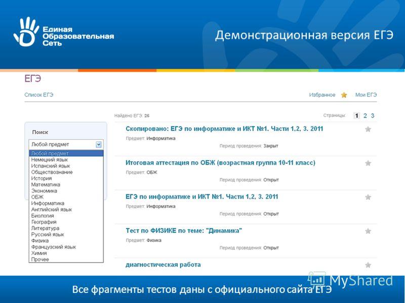 Все фрагменты тестов даны с официального сайта ЕГЭ Демонстрационная версия ЕГЭ