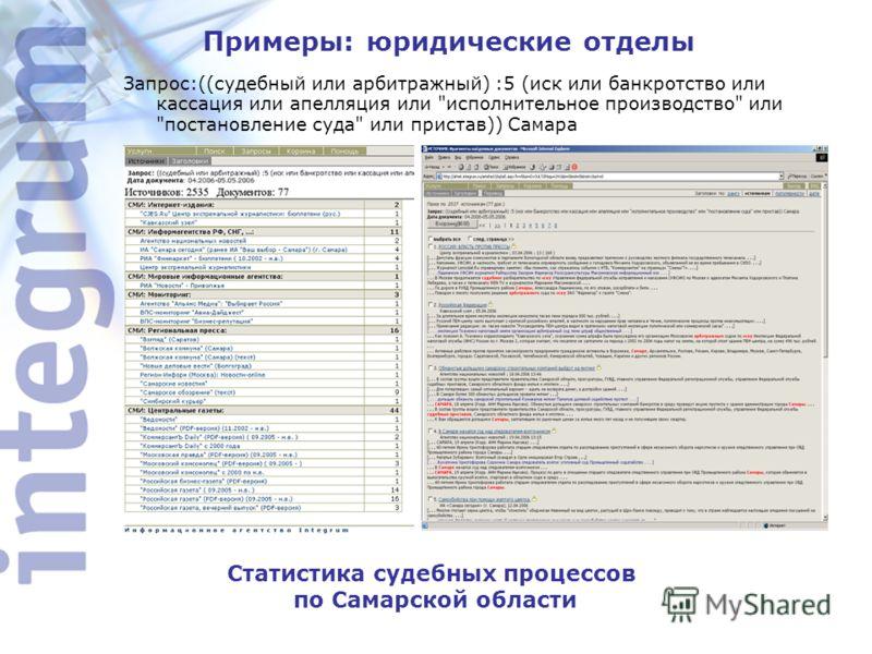Примеры: юридические отделы Статистика судебных процессов по Самарской области Статистика судебных процессов по Самарской области Запрос:((судебный или арбитражный) :5 (иск или банкротство или кассация или апелляция или