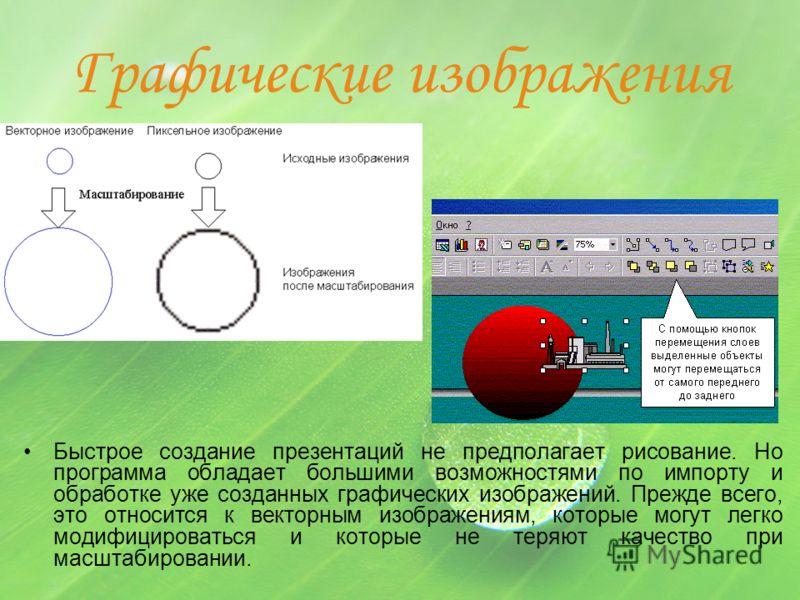 Графические изображения Быстрое создание презентаций не предполагает рисование. Но программа обладает большими возможностями по импорту и обработке уже созданных графических изображений. Прежде всего, это относится к векторным изображениям, которые м