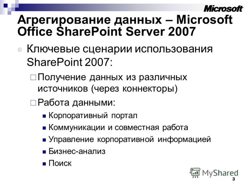 3 Агрегирование данных – Microsoft Office SharePoint Server 2007 Ключевые сценарии использования SharePoint 2007: Получение данных из различных источников (через коннекторы) Работа данными: Корпоративный портал Коммуникации и совместная работа Управл