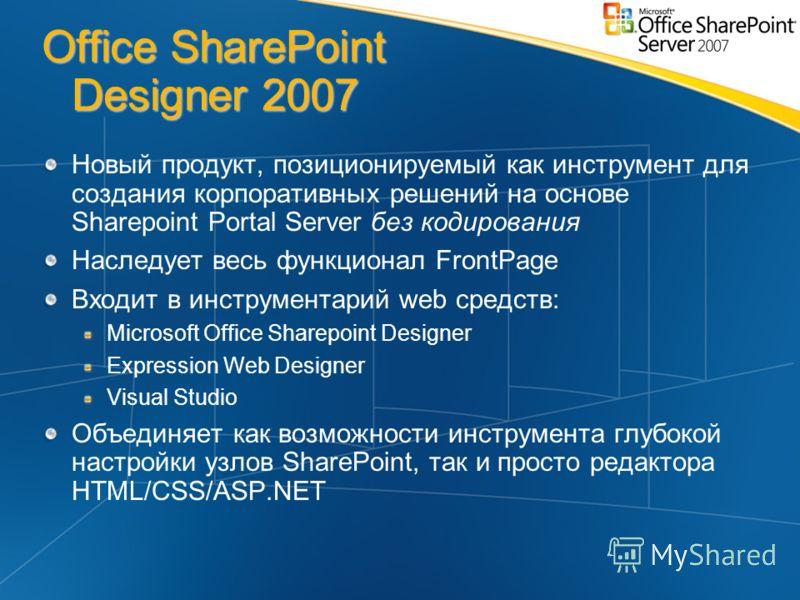 Office SharePoint Designer 2007 Новый продукт, позиционируемый как инструмент для создания корпоративных решений на основе Sharepoint Portal Server без кодирования Наследует весь функционал FrontPage Входит в инструментарий web средств: Microsoft Off