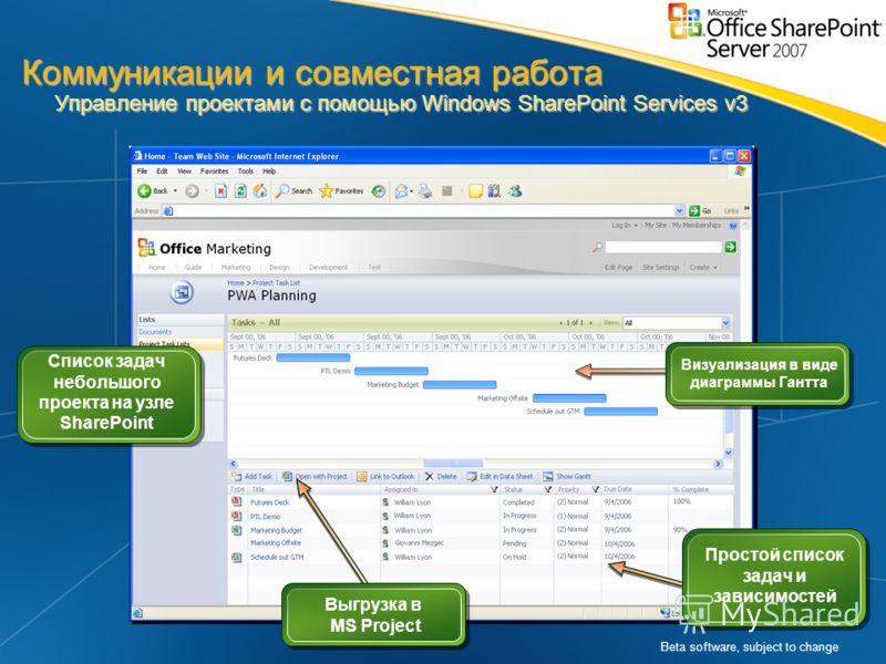 Beta software, subject to change Визуализация в виде диаграммы Гантта Выгрузка в MS Project Список задач небольшого проекта на узле SharePoint Простой список задач и зависимостей Коммуникации и совместная работа Управление проектами с помощью Windows