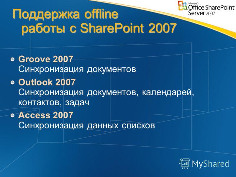 Поддержка offline работы с SharePoint 2007 Groove 2007 Cинхронизация документов Outlook 2007 Cинхронизация документов, календарей, контактов, задач Access 2007 Cинхронизация данных списков