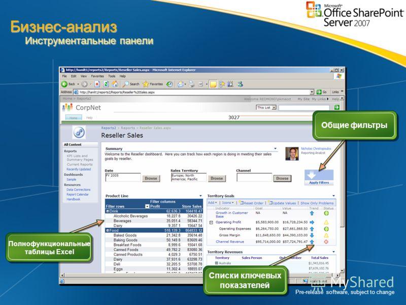Pre-release software, subject to change Списки ключевых показателей Общие фильтры Полнофункциональные таблицы Excel Бизнес-анализ Инструментальные панели