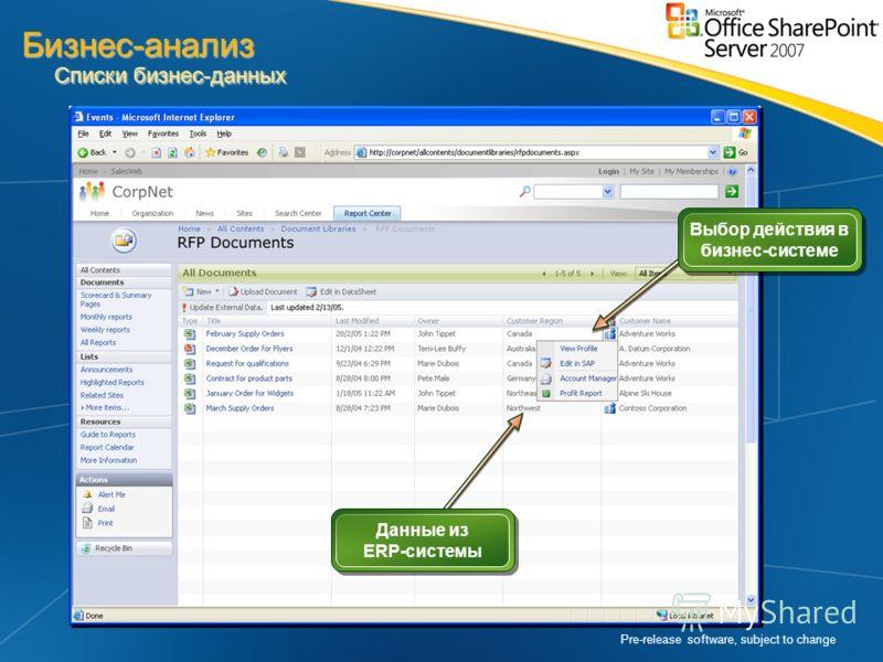 Pre-release software, subject to change Выбор действия в бизнес-системе Данные из ERP-системы Бизнес-анализ Списки бизнес-данных
