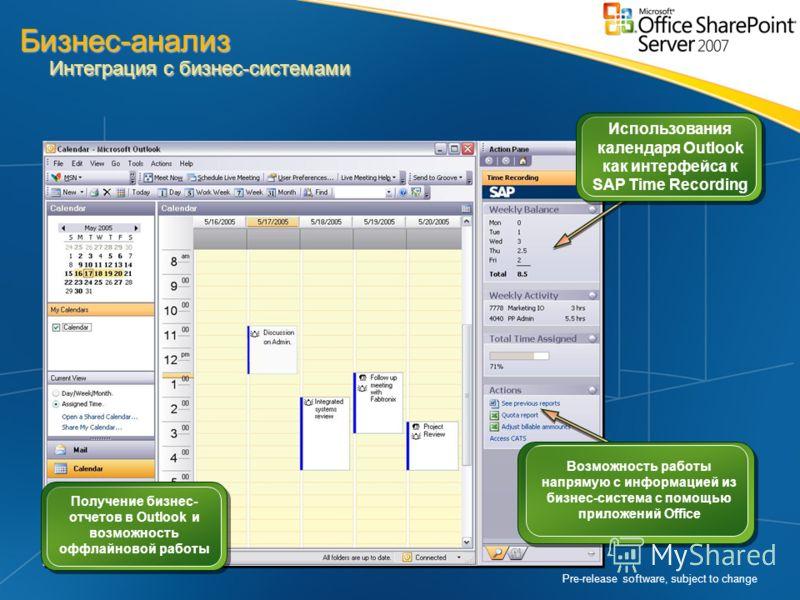 Pre-release software, subject to change Получение бизнес- отчетов в Outlook и возможность оффлайновой работы Возможность работы напрямую с информацией из бизнес-система с помощью приложений Office Использования календаря Outlook как интерфейса к SAP