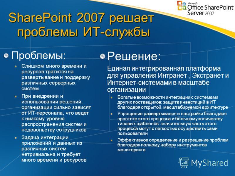 SharePoint 2007 решает проблемы ИТ-службы Решение: Единая интегрированная платформа для управления Интранет-, Экстранет и Интернет-системами в масштабе организации Богатые возможности интеграции с системами других поставщиков: защита инвестиций в ИТ