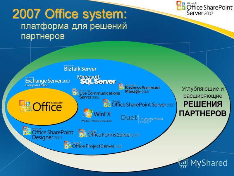 2007 Office system: 2007 Office system: платформа для решений партнеров РЕШЕНИЯ ПАРТНЕРОВ Углубляющие и расширяющие РЕШЕНИЯ ПАРТНЕРОВ