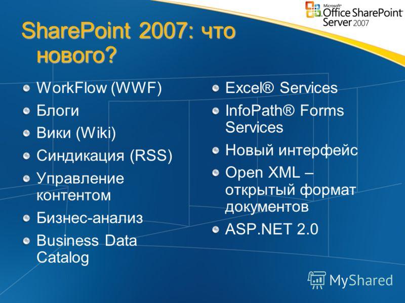 SharePoint 2007: что нового? WorkFlow (WWF) Блоги Вики (Wiki) Синдикация (RSS) Управление контентом Бизнес-анализ Business Data Catalog Excel® Services InfoPath® Forms Services Новый интерфейс Open XML – открытый формат документов ASP.NET 2.0