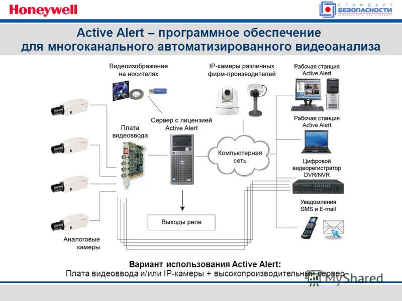Вариант использования Active Alert: Плата видеоввода и/или IP-камеры + высокопроизводительный сервер Active Alert – программное обеспечение для многоканального автоматизированного видеоанализа