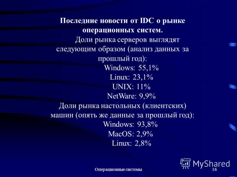 Операционные системы16 Последние новости от IDC о рынке операционных систем. Доли рынка серверов выглядят следующим образом (анализ данных за прошлый год): Windows: 55,1% Linux: 23,1% UNIX: 11% NetWare: 9,9% Доли рынка настольных (клиентских) машин (