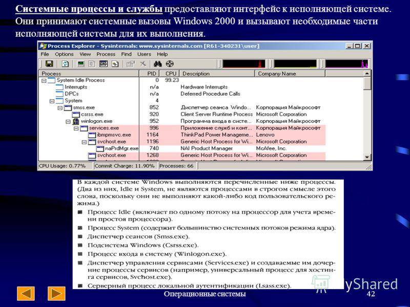 Операционные системы42 Системные процессы и службы предоставляют интерфейс к исполняющей системе. Они принимают системные вызовы Windows 2000 и вызывают необходимые части исполняющей системы для их выполнения.