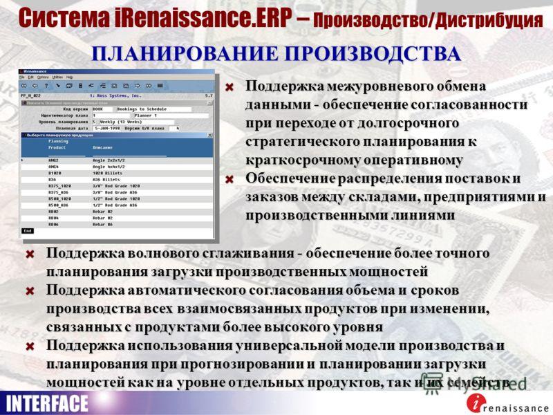 ПЛАНИРОВАНИЕ ПРОИЗВОДСТВА Система iRenaissance.ERP – Производство/Дистрибуция Поддержка межуровневого обмена данными - обеспечение согласованности при переходе от долгосрочного стратегического планирования к краткосрочному оперативному Обеспечение ра