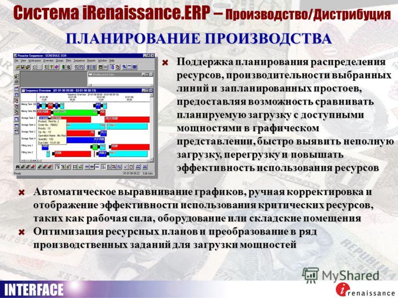 ПЛАНИРОВАНИЕ ПРОИЗВОДСТВА Система iRenaissance.ERP – Производство/Дистрибуция Поддержка планирования распределения ресурсов, производительности выбранных линий и запланированных простоев, предоставляя возможность сравнивать планируемую загрузку с дос