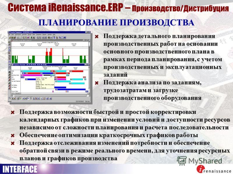 ПЛАНИРОВАНИЕ ПРОИЗВОДСТВА Система iRenaissance.ERP – Производство/Дистрибуция Поддержка детального планирования производственных работ на основании основного производственного плана в рамках периода планирования, с учетом производственных и эксплуата