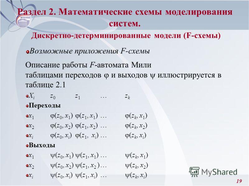 19 Возможные приложения F-схемы Описание работы F-автомата Мили таблицами переходов и выходов иллюстрируется в таблице 2.1 X i z 0 z 1 …z k Переходы x 1 (z 0, x 1 ) (z 1, x 1 )… (z k, x 1 ) x 2 (z 0, x 2 ) (z 1, x 2 )… (z k, x 2 ) x i (z 0, x i ) (z
