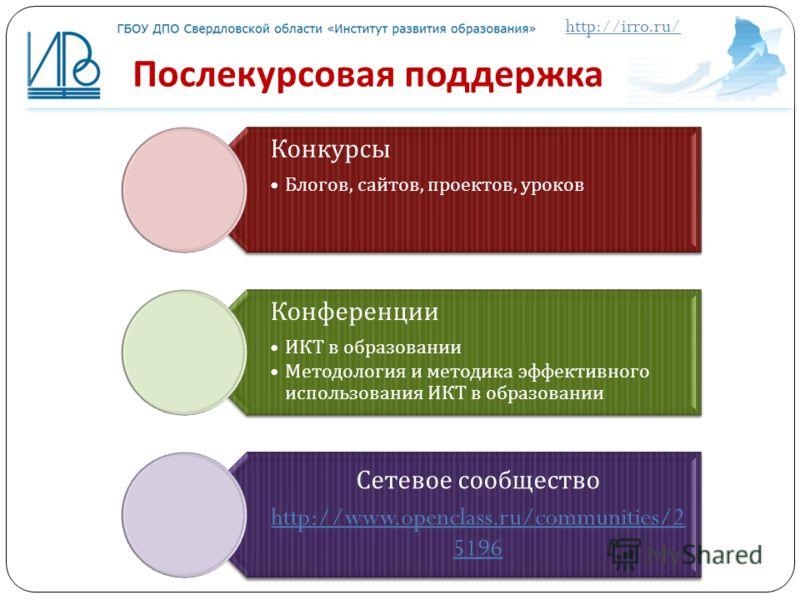 http://irro.ru/ Послекурсовая поддержка Конкурсы Блогов, сайтов, проектов, уроков Конференции ИКТ в образовании Методология и методика эффективного использования ИКТ в образовании Сетевое сообщество http://www.openclass.ru/communities/2 5196
