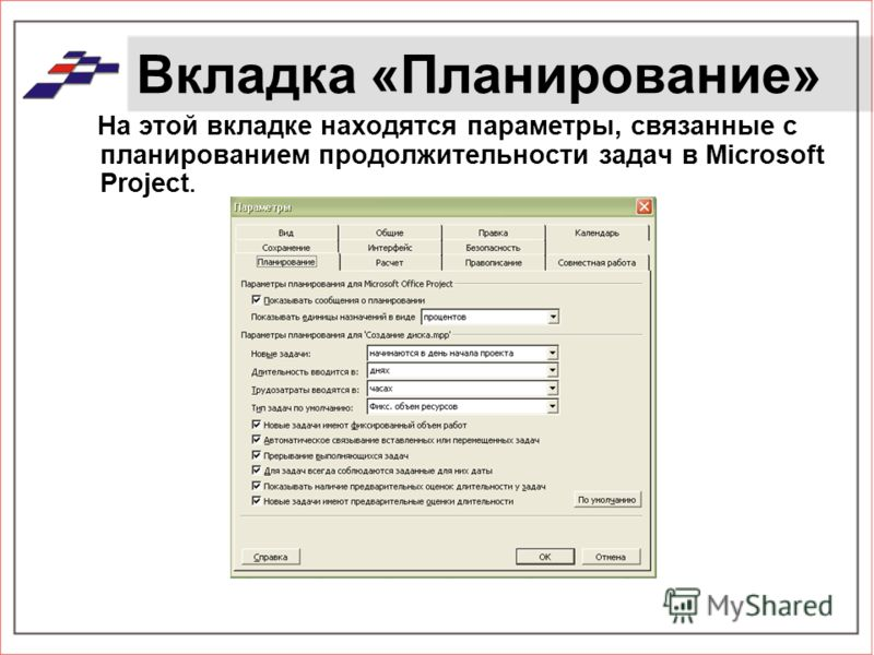 Вкладка «Планирование» На этой вкладке находятся параметры, связанные с планированием продолжительности задач в Microsoft Project.