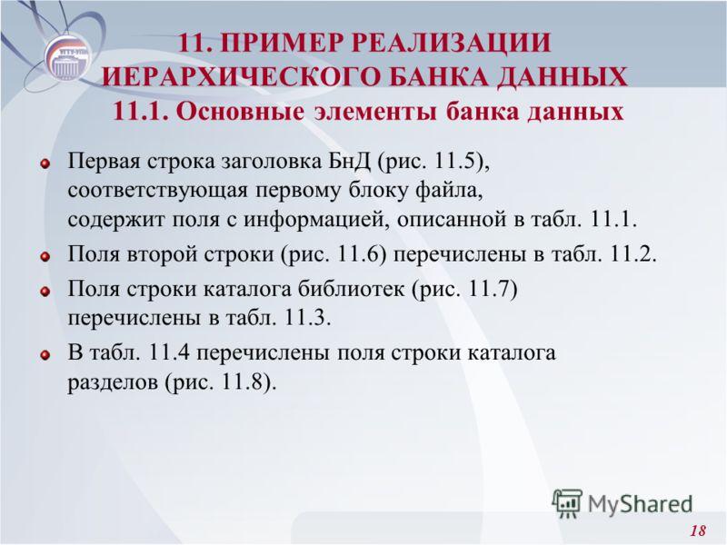 18 Первая строка заголовка БнД (рис. 11.5), соответствующая первому блоку файла, содержит поля с информацией, описанной в табл. 11.1. Поля второй строки (рис. 11.6) перечислены в табл. 11.2. Поля строки каталога библиотек (рис. 11.7) перечислены в та