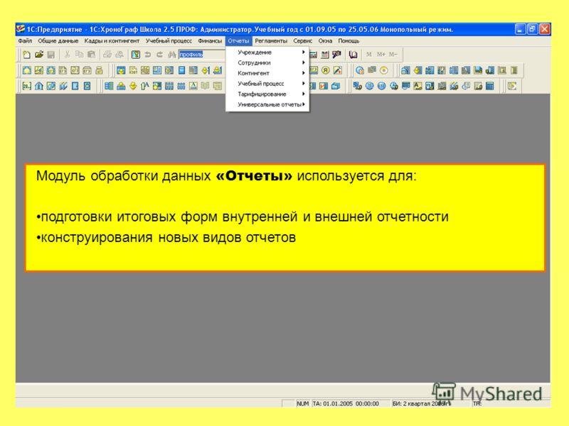 Модуль обработки данных «Отчеты» используется для: подготовки итоговых форм внутренней и внешней отчетности конструирования новых видов отчетов