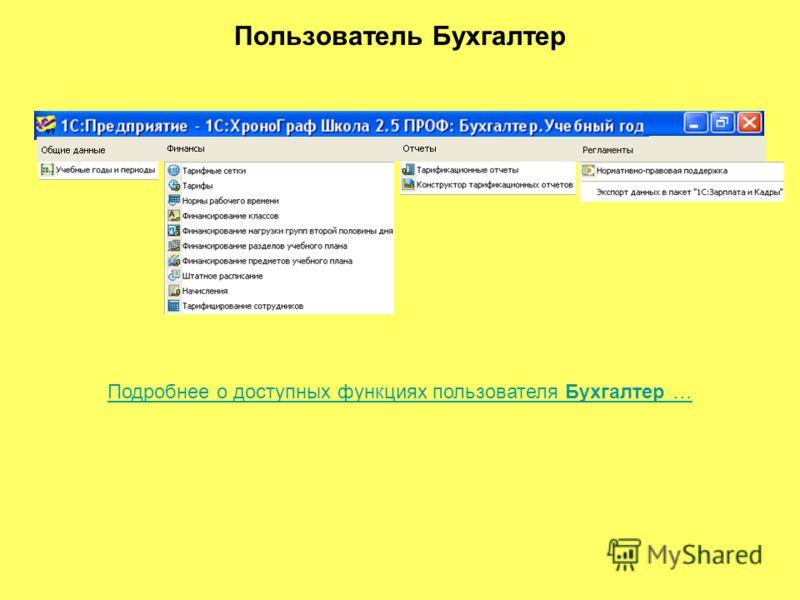 Пользователь Бухгалтер Подробнее о доступных функциях пользователя Бухгалтер …