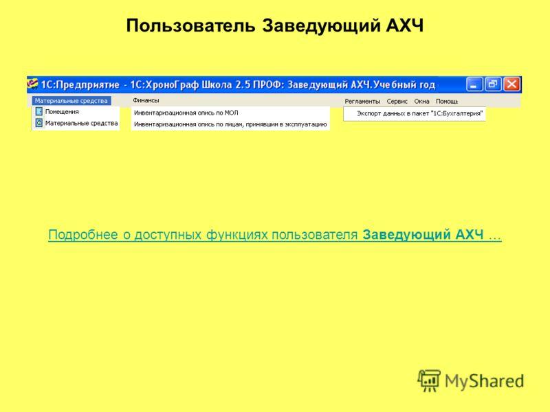 Пользователь Заведующий АХЧ Подробнее о доступных функциях пользователя Заведующий АХЧ …