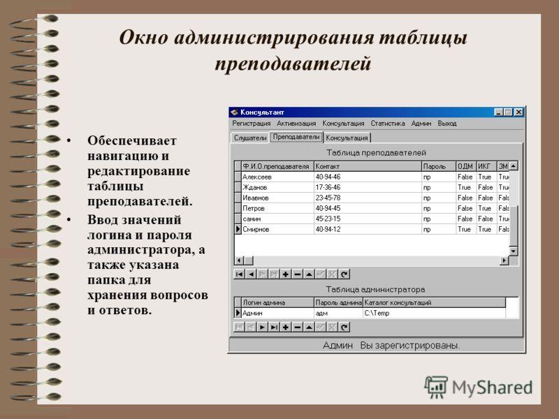 Окно администрирования таблицы преподавателей Обеспечивает навигацию и редактирование таблицы преподавателей. Ввод значений логина и пароля администратора, а также указана папка для хранения вопросов и ответов.