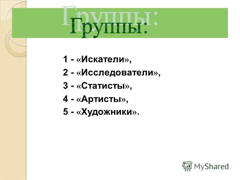 1 - « Искатели », 2 - « Исследователи », 3 - « Статисты », 4 - « Артисты », 5 - « Художники ».