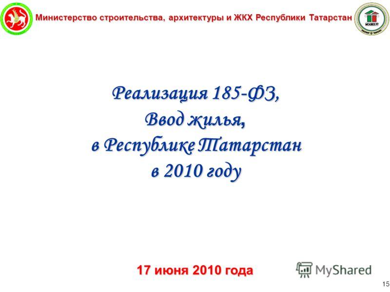 Министерство строительства, архитектуры и ЖКХ Республики Татарстан 15 Реализация 185-ФЗ, Ввод жилья, в Республике Татарстан в 2010 году 17 июня 2010 года