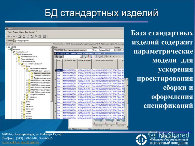 База стандартных изделий содержит параметрические модели для ускорения проектирования сборки и оформления спецификаций БД стандартных изделий 620014, г.Екатеринбург, ул. Вайнера 15, оф.3 Тел/факс: (343) 379-01-09, 376-60-15 www.vpkf.ruwww.vpkf.ru, ma