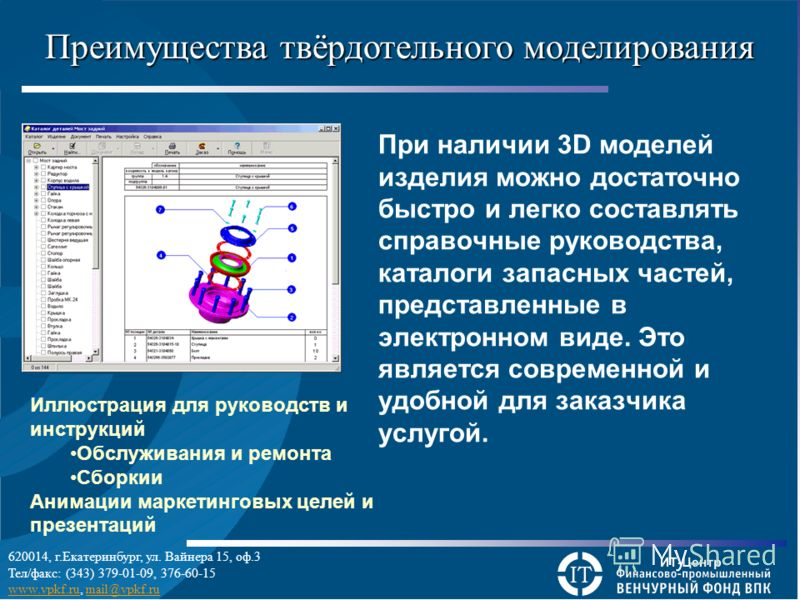 Преимущества твёрдотельного моделирования При наличии 3D моделей изделия можно достаточно быстро и легко составлять справочные руководства, каталоги запасных частей, представленные в электронном виде. Это является современной и удобной для заказчика