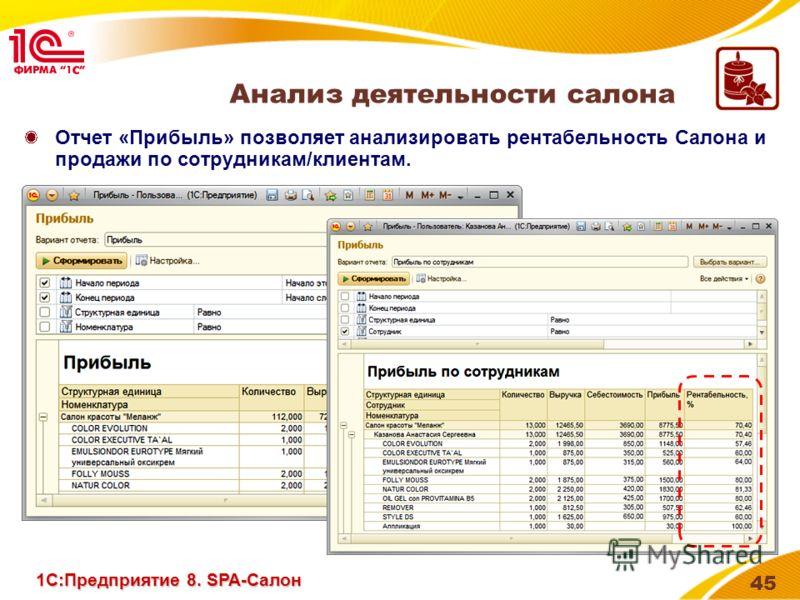 45 Отчет «Прибыль» позволяет анализировать рентабельность Салона и продажи по сотрудникам/клиентам. Анализ деятельности салона 1С:Предприятие 8. SPA-Салон