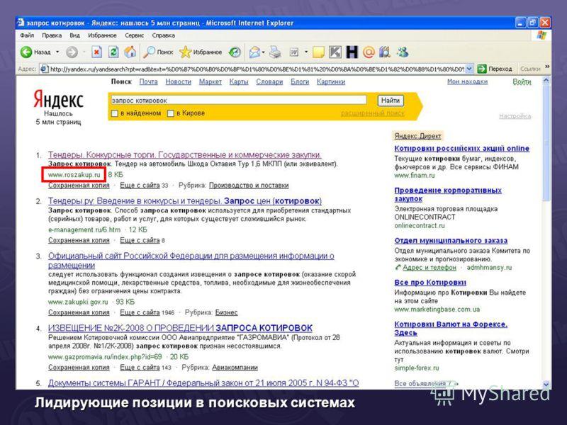 Лидирующие позиции в поисковых системах