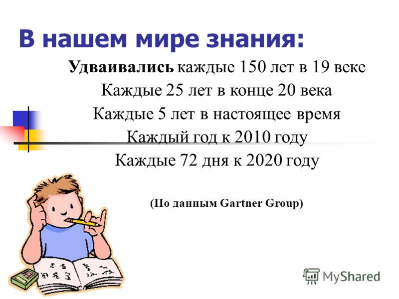 В нашем мире знания: Удваивались каждые 150 лет в 19 веке Каждые 25 лет в конце 20 века Каждые 5 лет в настоящее время Каждый год к 2010 году Каждые 72 дня к 2020 году (По данным Gartner Group)