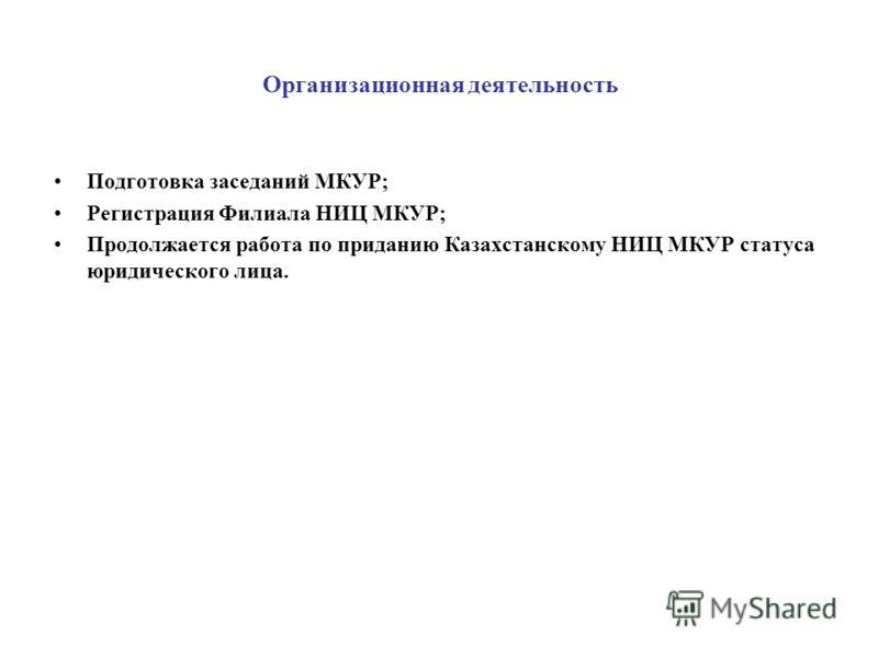 Организационная деятельность Подготовка заседаний МКУР; Регистрация Филиала НИЦ МКУР; Продолжается работа по приданию Казахстанскому НИЦ МКУР статуса юридического лица.