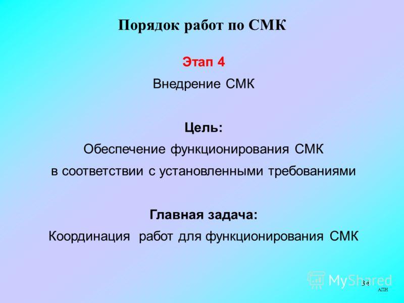 34 АПН Порядок работ по СМК Этап 4 Внедрение СМК Цель: Обеспечение функционирования СМК в соответствии с установленными требованиями Главная задача: Координация работ для функционирования СМК