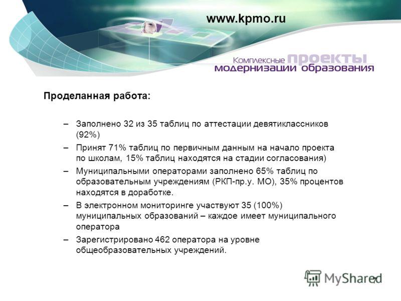 7 www.kpmo.ru Проделанная работа: –Заполнено 32 из 35 таблиц по аттестации девятиклассников (92%) –Принят 71% таблиц по первичным данным на начало проекта по школам, 15% таблиц находятся на стадии согласования) –Муниципальными операторами заполнено 6