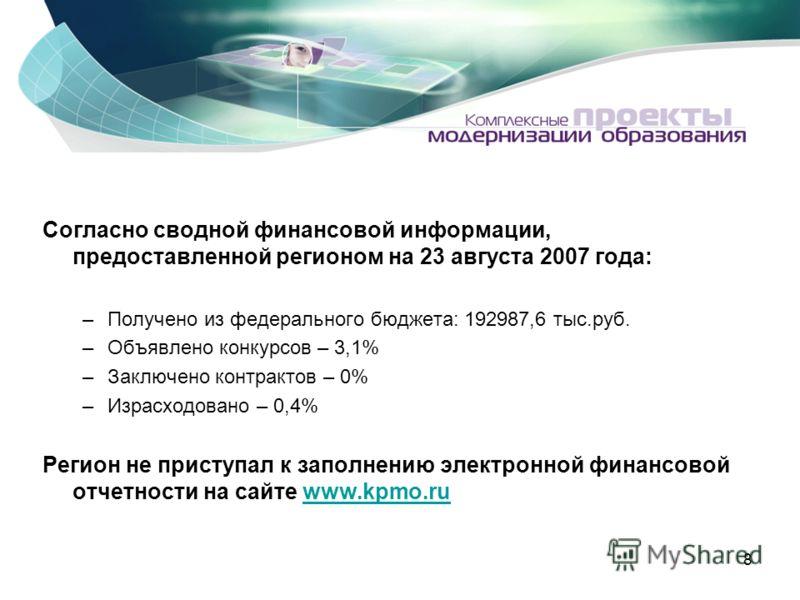 8 Согласно сводной финансовой информации, предоставленной регионом на 23 августа 2007 года: –Получено из федерального бюджета: 192987,6 тыс.руб. –Объявлено конкурсов – 3,1% –Заключено контрактов – 0% –Израсходовано – 0,4% Регион не приступал к заполн