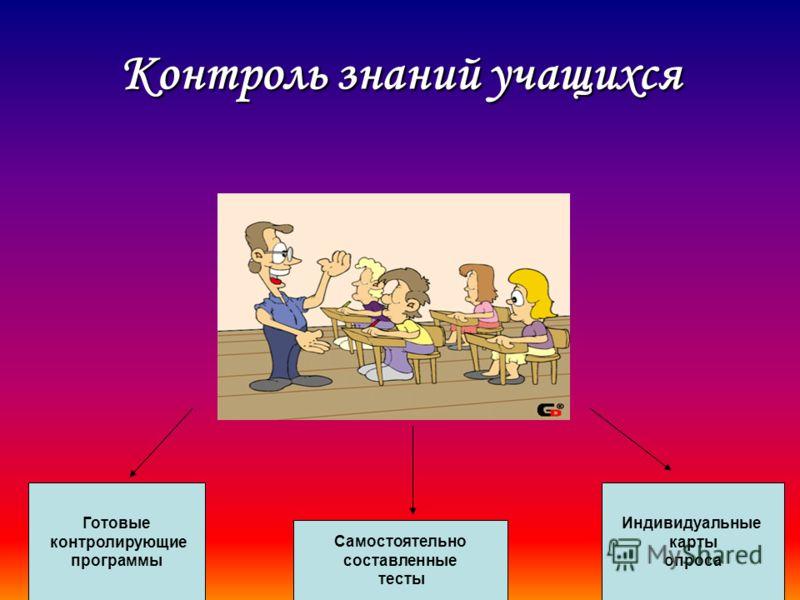 Контроль знаний учащихся Готовые контролирующие программы Самостоятельно составленные тесты Индивидуальные карты опроса