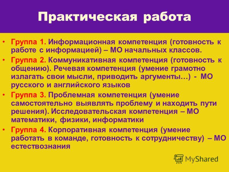 Группа 1. Информационная компетенция (готовность к работе с информацией) – МО начальных классов. Группа 2. Коммуникативная компетенция (готовность к общению). Речевая компетенция (умение грамотно излагать свои мысли, приводить аргументы…) - МО русско