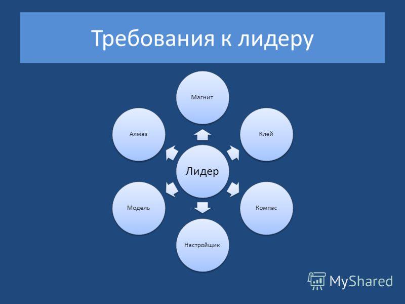 Требования к лидеру Лидер МагнитКлейКомпасНастройщикМодельАлмаз